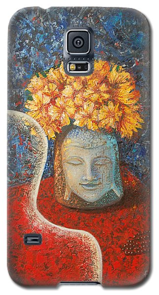 Galaxy S5 Case featuring the painting Tibetan Prayers by Mini Arora