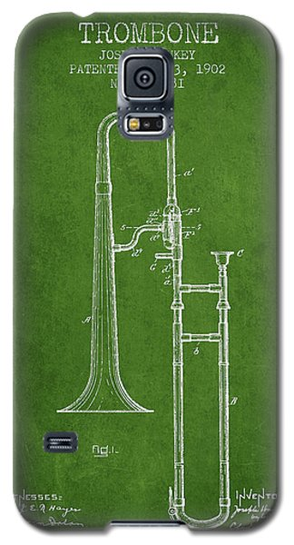 Trombone Patent From 1902 - Green Galaxy S5 Case by Aged Pixel