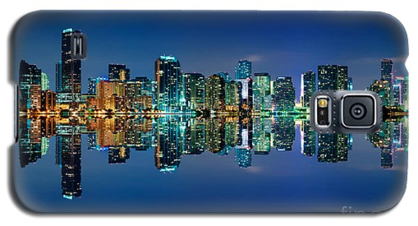 Galaxy S5 Case featuring the photograph Miami Skyline At Night by Carsten Reisinger