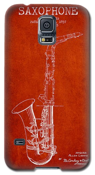 Saxophone Patent Drawing From 1937 - Red Galaxy S5 Case by Aged Pixel