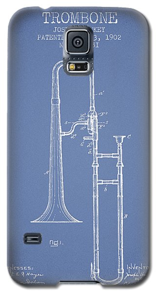 Trombone Patent From 1902 - Light Blue Galaxy S5 Case by Aged Pixel