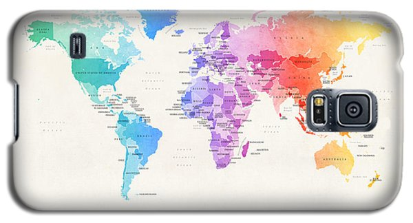 Planets Galaxy S5 Case - Watercolour Political Map Of The World by Michael Tompsett