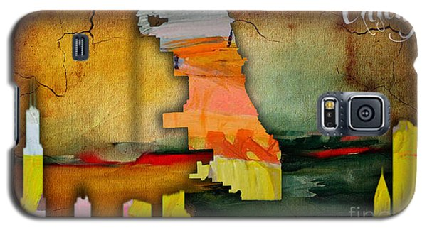 Chicago Map And Skyline Watercolor Galaxy S5 Case by Marvin Blaine