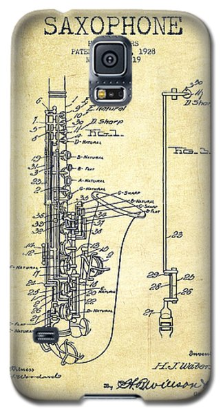 Saxophone Patent Drawing From 1928 Galaxy S5 Case by Aged Pixel