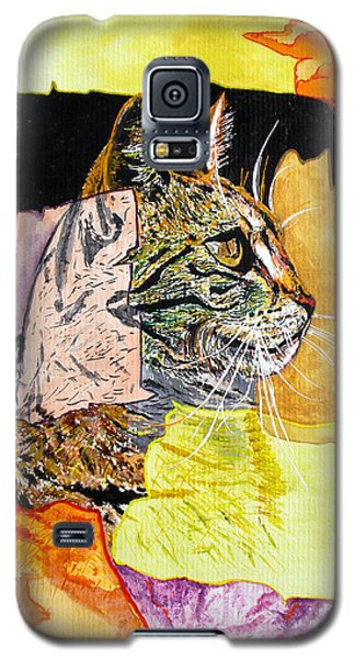 Galaxy S5 Case featuring the painting Cat by Daniel Janda
