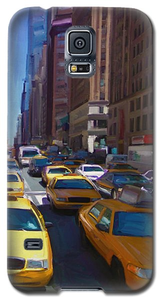 Galaxy S5 Case featuring the painting 7th Avenue W36th Street Nyc by Nop Briex
