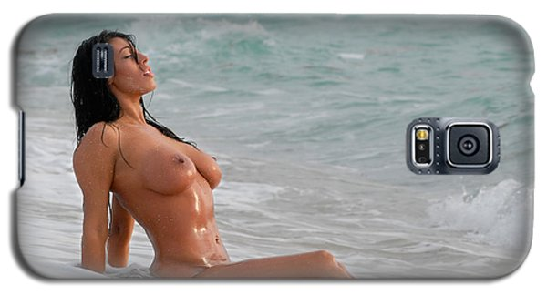 Galaxy S5 Case featuring the photograph 9640 Beautiful Nude Woman Washed By The Ocean Waves by Chris Maher