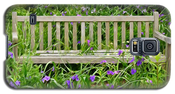 Galaxy S5 Case featuring the photograph A Bench For The Flowers by Gary Slawsky