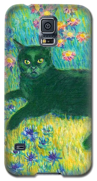 Galaxy S5 Case featuring the painting A Black Cat On Floral Mat by Jingfen Hwu