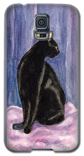 Galaxy S5 Case featuring the painting A Black Cat's Sexy Pose by Jingfen Hwu