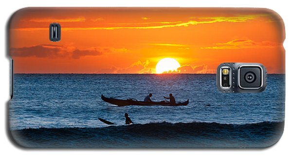 A Boat And Surfer At Sunset Maui Hawaii Usa Galaxy S5 Case