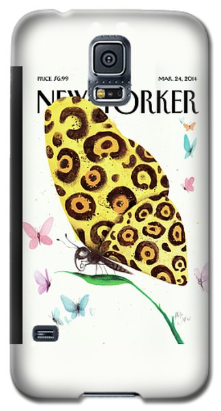 A Butterfly With A Cheetah Pattern Rests Galaxy S5 Case