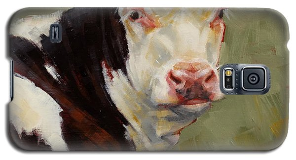Galaxy S5 Case featuring the painting A Calf Named Ivory by Margaret Stockdale