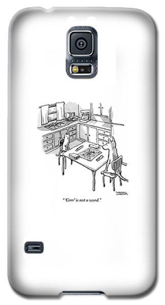 A Cat And Dog Play Scrabble In A Kitchen. 'grrr' Galaxy S5 Case