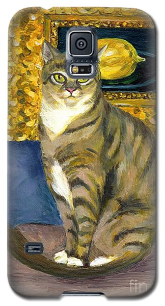 Galaxy S5 Case featuring the painting A Cat And Eduard Manet's The Lemon by Jingfen Hwu