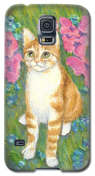 Galaxy S5 Case featuring the painting A Cat And Meadow Flowers by Jingfen Hwu
