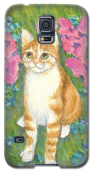 A Cat And Meadow Flowers Galaxy S5 Case by Jingfen Hwu