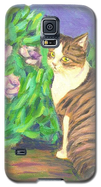 Galaxy S5 Case featuring the painting A Cat At A Garden by Jingfen Hwu