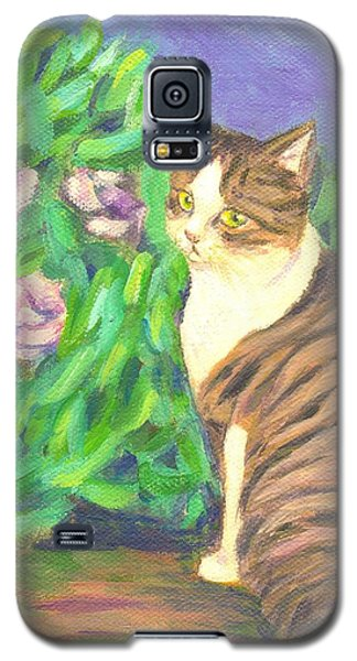 A Cat At A Garden Galaxy S5 Case by Jingfen Hwu
