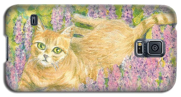 Galaxy S5 Case featuring the painting A Cat Lying On Floral Mat by Jingfen Hwu