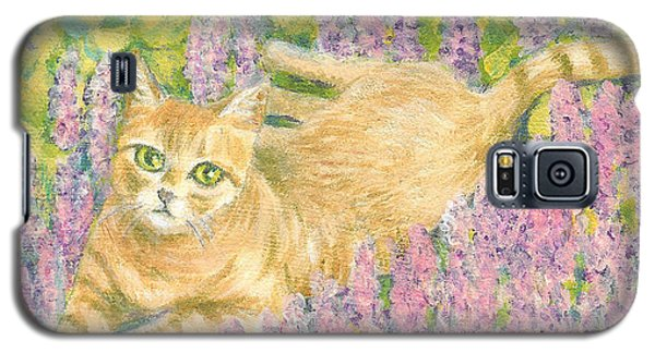 A Cat Lying On Floral Mat Galaxy S5 Case by Jingfen Hwu