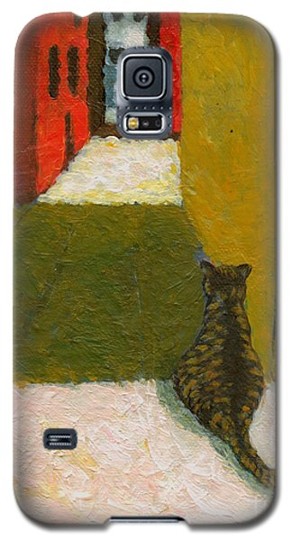 Galaxy S5 Case featuring the painting A Cat Waiting For Someone's Return by Jingfen Hwu