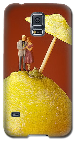 Galaxy S5 Case featuring the painting A Couple In Lemon Rain Little People On Food by Paul Ge