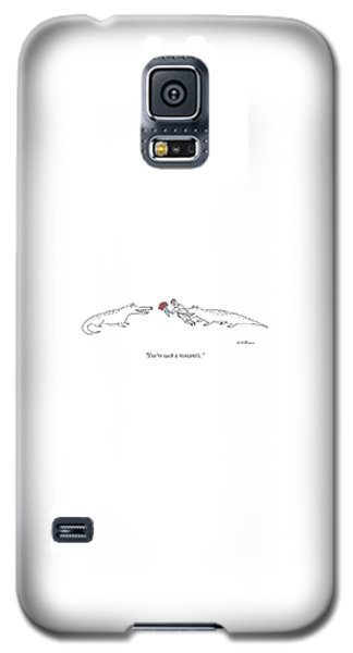 Alligator Galaxy S5 Case - A Crocodile To Another Crocodile With A Person by Michael Maslin