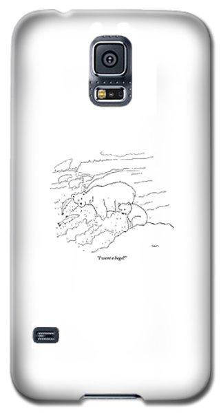 Polar Bear Galaxy S5 Case - A Cub Polar Bear Exclaims While Family Hunts by Michael Shaw