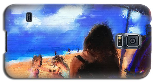 Galaxy S5 Case featuring the painting A Day At The Beach by Ted Azriel