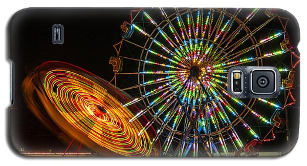 Galaxy S5 Case featuring the photograph Colorful Carnival Ferris Wheel Ride At Night by Jerry Cowart
