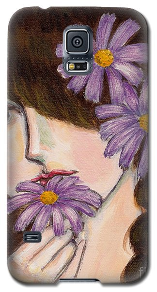 Galaxy S5 Case featuring the painting A Girl With Daisies by Jingfen Hwu