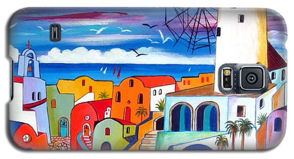A Greek Mill And The Colors Of Oia Santorini  Galaxy S5 Case by Roberto Gagliardi