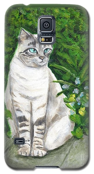 A Grey Cat At A Garden Galaxy S5 Case by Jingfen Hwu