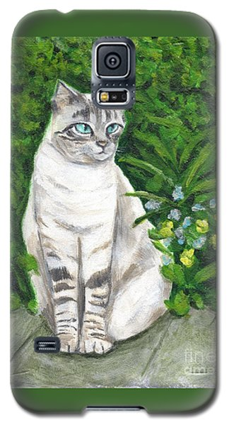 Galaxy S5 Case featuring the painting A Grey Cat At A Garden by Jingfen Hwu