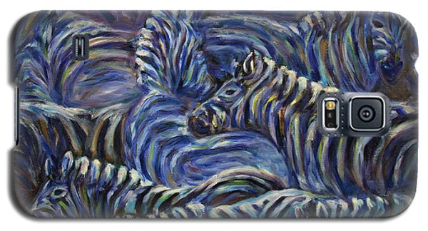 Galaxy S5 Case featuring the painting A Group Of Zebras by Xueling Zou