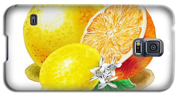 Galaxy S5 Case featuring the painting A Happy Citrus Bunch Grapefruit Lemon Orange by Irina Sztukowski