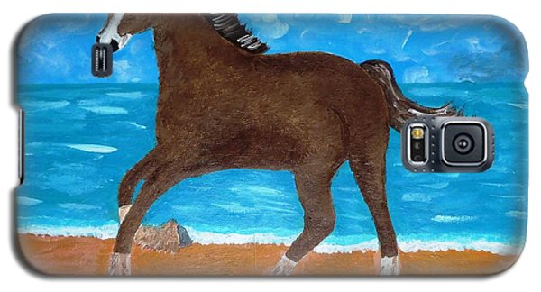 Galaxy S5 Case featuring the painting A Horse On The Beach by Magdalena Frohnsdorff