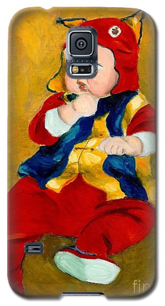 Galaxy S5 Case featuring the painting A Kid Wearing Two Cultural Traditions by Jingfen Hwu