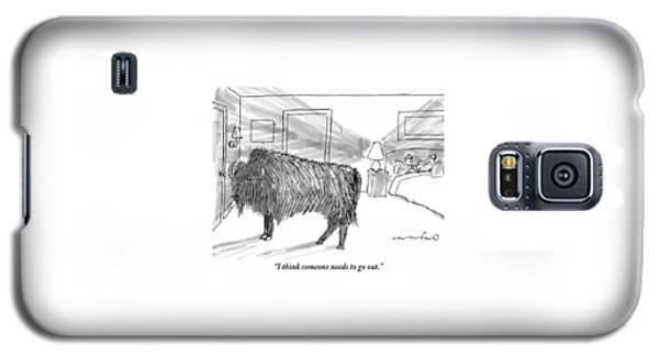 A Large Buffalo Stands Near The Door Galaxy S5 Case