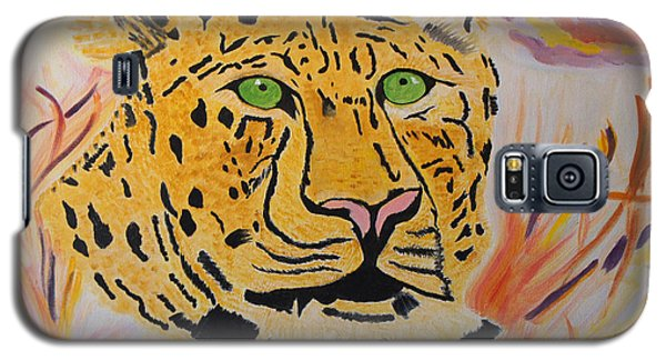 Galaxy S5 Case featuring the painting A Leopard's Gaze by Meryl Goudey