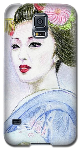 Galaxy S5 Case featuring the drawing A Maiko  Girl by Yoshiko Mishina