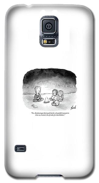 A Man And 3 Children Sit Around A Fire Galaxy S5 Case