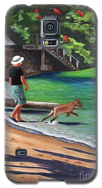 Galaxy S5 Case featuring the painting A Man And His Dog by Laura Forde