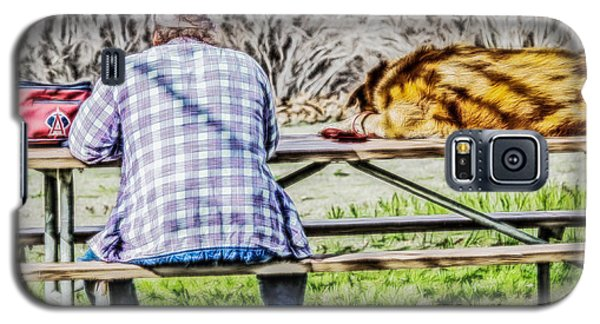 Galaxy S5 Case featuring the digital art A Man And His Dog by Photographic Art by Russel Ray Photos