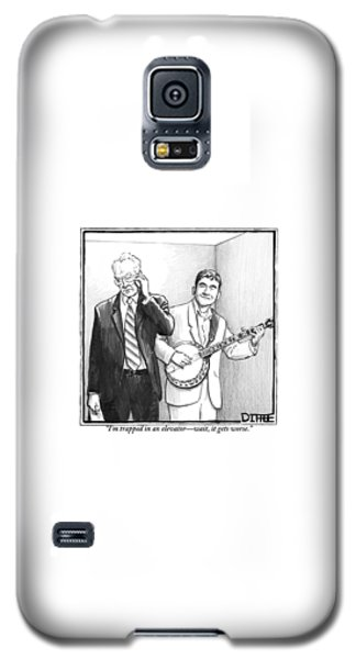 Musicians Galaxy S5 Case - A Man In A Business Suit Is Talking On His Cell by Matthew Diffee