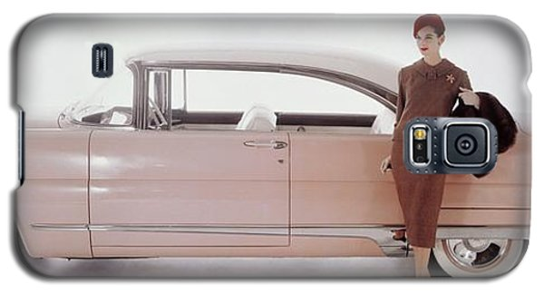 A Model Posing In Front Of A Vintage Car Galaxy S5 Case by Karen Radkai