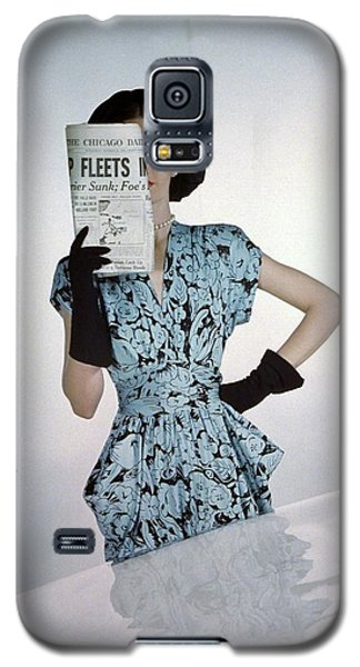 A Model Wearing A Floral Blue Dress Galaxy S5 Case by Constantin Joff?
