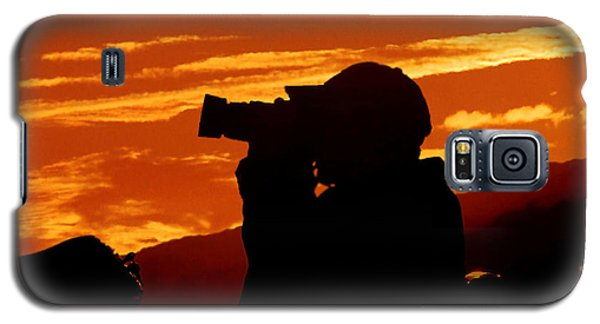 Galaxy S5 Case featuring the photograph A Photographer Enjoying His Work by Kathy Baccari