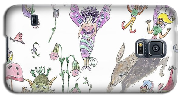 Galaxy S5 Case featuring the painting A Rabbit And Some Fairies by Helen Holden-Gladsky